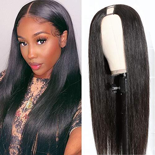 LEOSA Straight U Part Wigs for Black Women,So Wig U Part 1.5''x 3.5'' U Shape Glueless Wigs Natural Black Full Head U-part Hair Extension Clip in U Part Wig Synthetic Hair Straight Half Wig 20inch