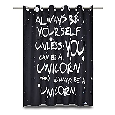 Black Shower Curtain with Words - EnaEzen Black and White Hookless Fabric Unicorn Shower Curtains with Word Sayings for the Bathroom Heavy Duty 71 x 71 inches