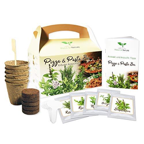 Magic of Nature Caja para pizza y pasta – Juego de cultivo de hierbas – Regalo perfecto – para cultivar uno mismo – Fácil manejo – 5 típicas pizzas y hierbas – Alta tasa de germinación