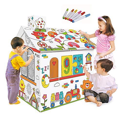 Decdeal – Casa de juegos de cartón para colorear creativo y bricolaje, 2.2 pies de altura, montaje de…