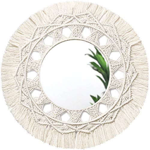Dahey Macrame Hanging Wall Mirror with Boho Fringe Round Decorative Mirror for Apartment Home Bedroom Living Room Decor, 18.5