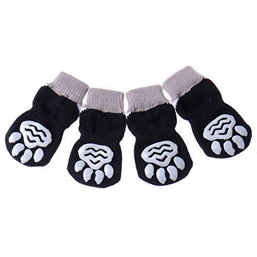 JJ Store, calzini antiscivolo per cani lavorati a maglia; ideali per proteggere le zampe al chiuso, 4 pezzi