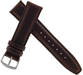 Hadley Roma MS881 18mm Short Watch Band Oiled Leather Brown Padded Mens