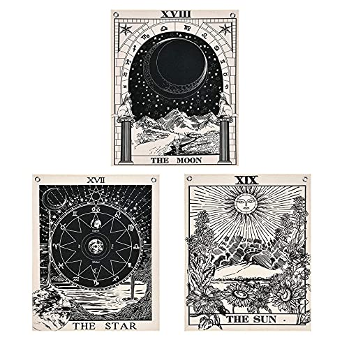 Pack of 3 Tarot Tapestries with Rustproof Grommets, Seamless Nails, The Sun Moon Star Tarot Card Tapestries Vertical Tapestry Wall Hanging (16 x 20 inches/piece)