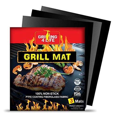 GRILLING 4 LIFE BBQ Grill Mat - 2020 Set of 3 Heavy Duty Heat Resistant 600 Degree 100% Non-Stick Best Grill Mats (15.75 x 13 inches)