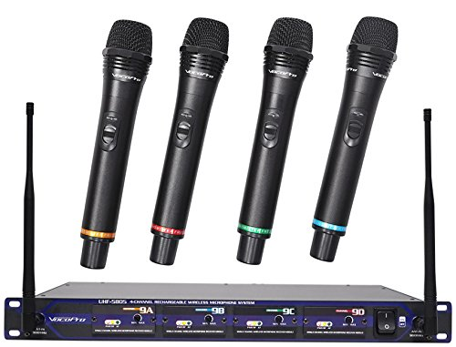 VocoPro UHF5805 Professional Rechargeable 4-Channel UHF Wireless Microphone System
