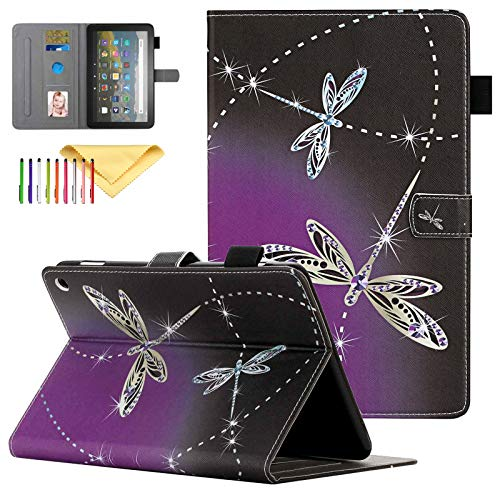 Uliking Case for All-New Fire HD 8 Plus/Fire HD 8 Kids 2020 Released - Stand Smart Protective Cover with Pencil Holder, with Auto Sleep Wake Feature, Dragonfly