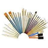 Artina Juego de Pinceles de 30 Piezas con espátulas y Cuchillos - Set de Pinceles Ideal para Todo Tipo de Pintura y Arte