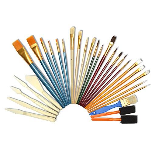 Artina 30er Pinsel-Set - diverse Pinselarten mit Malmessern - ideal für alle Bereiche der Kunst und Malerei