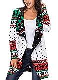 Sidefeel Women Open Front Christmas Turndown Collar Sweater Waterfall Cardigan X-Large White