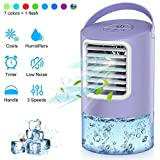 Personal Air Conditioner Fan, 3 IN 1 Personal Space Cooler Desktop Portable Mini Evaporative Air Cooler Misting Fan Air Conditioner 3 Speed 7 Color LED Light Purple for Room, Office, Kitchen--Duomishu
