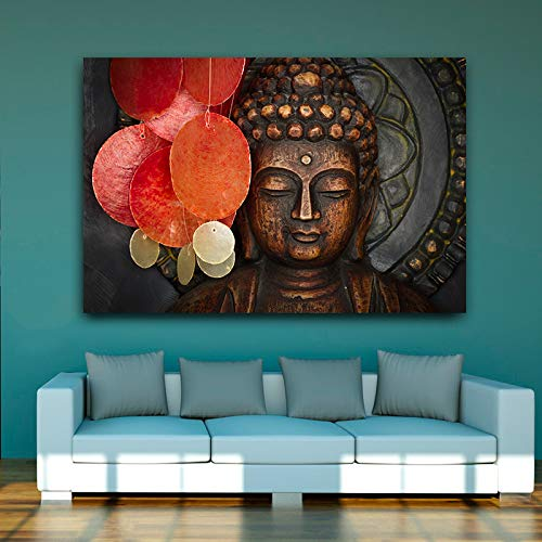 HD Buddha Statue Posters and Prints Oil Painting Canvas Scandinavian Buddhism Abstract Mural Living Room Picture