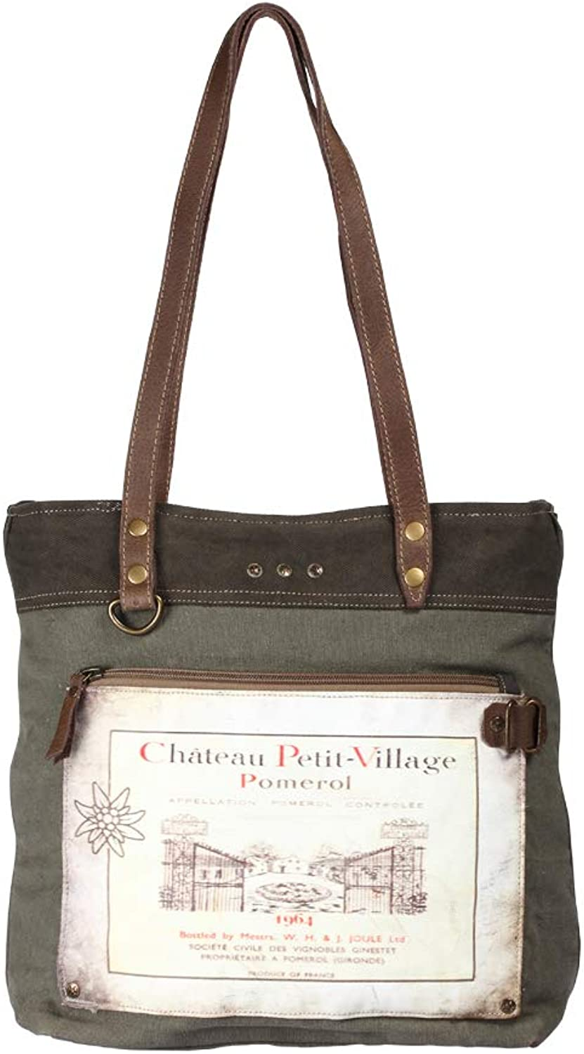 Myra Bag Chateau Petit Village Upcycled Canvas Tote Bag S1206