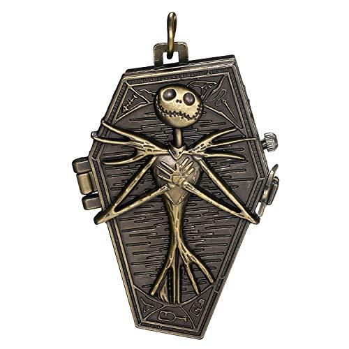 JewelryWe Herren Taschenuhr Vintage Retro Schädel Skull Skelett Fright Burton's Nightmare Before Christmas Quarz Analog Uhr mit Kette Halskette Bronze