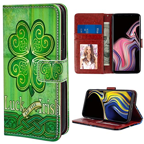 Wallet Case for Samsung Galaxy S9 (2018) Celtic Clover Green Luck of The Irish for Girl
