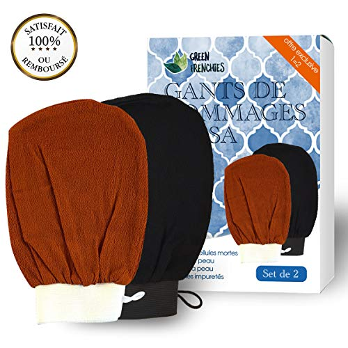 G.F. Guantes exfoliantes para cuerpo Kessa, guantes de exfoliación Kessa, 2 juegos de guantes de crin para hammam, guante de fricción natural