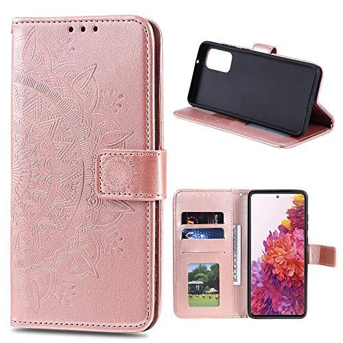 CoverKingz Handyhülle für Samsung Galaxy S20 FE [6,5 Zoll] - Handytasche mit Kartenfach S20 FE Cover - Handy Hülle klappbar Motiv Mandala Rosegold