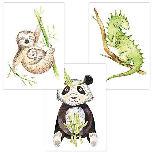 Wandbilder 3er Set für Baby & Kinderzimmer Deko Poster Faultier Panda Chamäleon | Kunstdruck DIN A4 ohne Rahmen und Dekoration (Tropical
