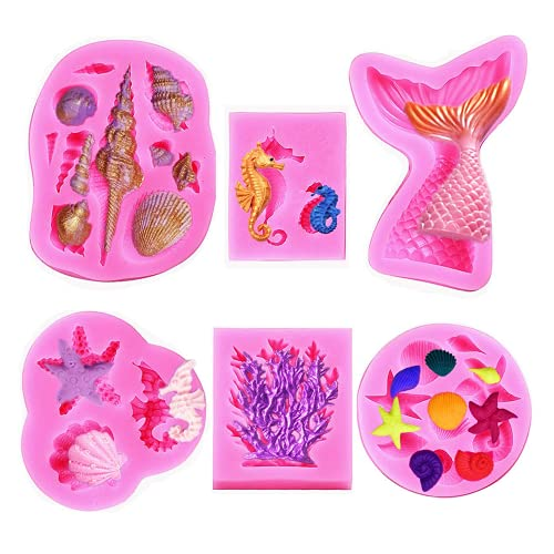 Zueyen 6 Piece Marine Themed Silicone Fondant Chocolate Moulds for Cake Cupcake Decoration or Making Clay, Including Mermaid Tail, Seahorse, Starfish, Conch, Seashell, Coral Molds