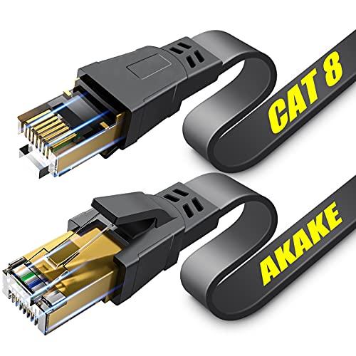 Cavo Ethernet Cat 8, 12 m, cavo di rete Internet piatto ad alta velocità, cavo LAN professionale, 26 AWG, 2000 MHz 40 Gbps con connettore RJ45 placcato oro, schermato a parete, interno ed esterno