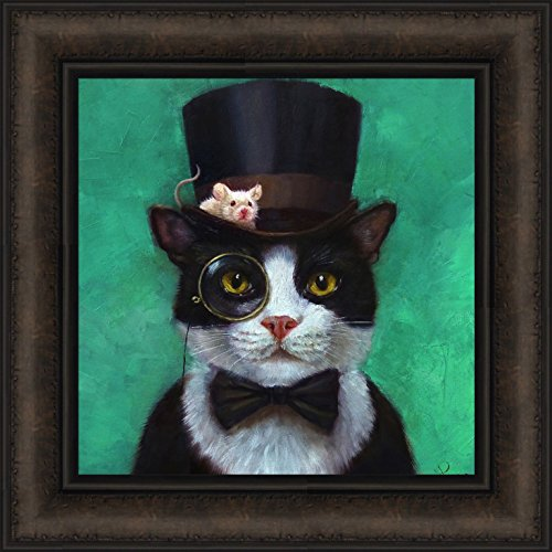 Home Cabin Décor Tuxedo Cat by Lucia Heffernan 16x16 Black White Cat Bow Tie Top Hat Eye Glass Mouse Funny Art Framed Print Picture