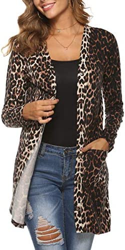 Halife Women s Leopard Printed Cardigans Shirt Lightweight Button Down Cardigan Coat with Pockets product image