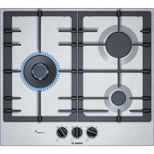 Bosch PCC6A5B90 hobs Acero inoxidable Integrado Encimera de gas - Placa (Acero inoxidable, Integrado, Encimera de gas, Acero inoxidable, 1000 W, Alrededor)