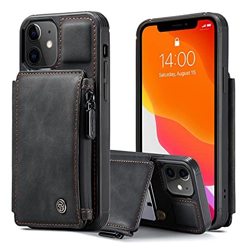 LJFLI Funda tipo cartera para iPhone 12 Pro Max con soporte para tarjetas, 3 ranuras para tarjetas, 1 cartera con cremallera esmerilada, protege la funda de la funda, negro, 12 mini