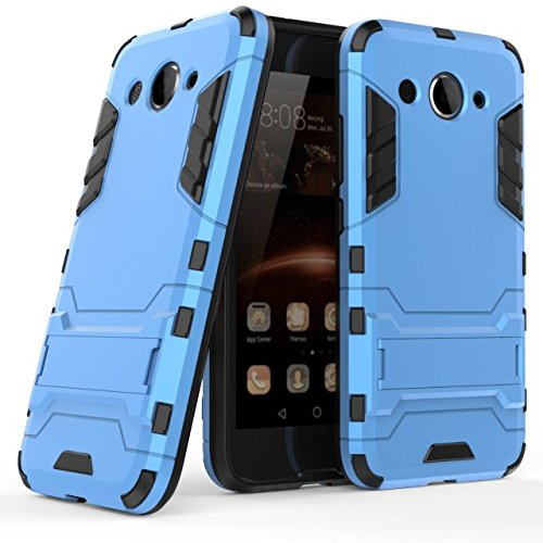 Huawei Y3 2017 Hülle, MHHQ Hybrid 2in1 TPU+PC Schutzhülle Rugged Armor Hülle Cover Dual Layer Bumper Backcover mit Ständer für Huawei Y3 2017 -Light Blue