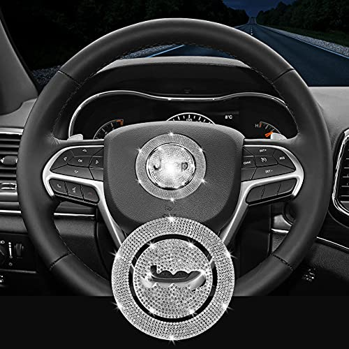 Bling Car Steering Wheel Emblem Sticker Accessories, Rhinestone Decal for Women, Diamond Badge Compatible with Jeep Cherokee Compass Grand Cherokee Patriot Renegade Wrangler Gladiator (Small/53mm)
