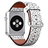 Compatible with Apple Watch (Small Version) 38 / 40mm Leather Wristband Bracelet with Stainless Steel Clasp and Adapters - Horseshoes Icons