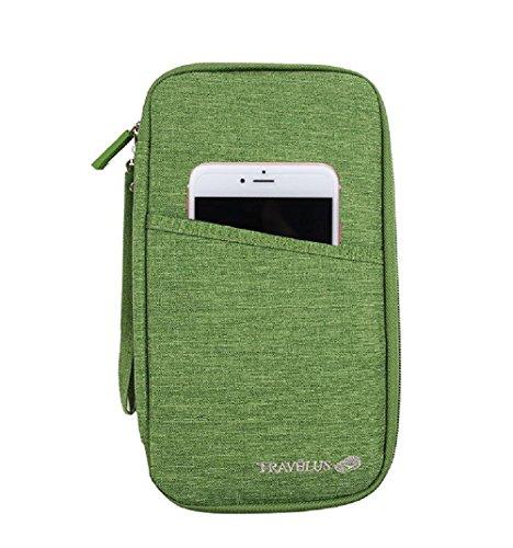 KingSnow Reiseorganizer Reisedokumententasche Reisebrieftasche mit Reißverschluss, Reise Organizer, Mappe für Reiseunterlagen, Reisemappe Reisebrieftasche Reisebörse Tickettasche Ausweistasche(Grün)