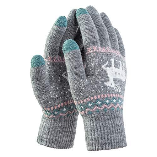 Damen Strick Handschuhe Touchscreen warme Fäustlinge Winter Damenhandschuhe mit Fleecefutter MEHRWEG