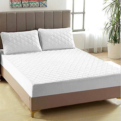 XLMHZP Impermeable Cubre colchón Acolchado,Funda de colchón Acolchada Gruesa Impermeable, sábana Ajustable Acolchada King Queen Permeable al Aire, colchón antibacterias, Topper-White_120x200cm + 30cm