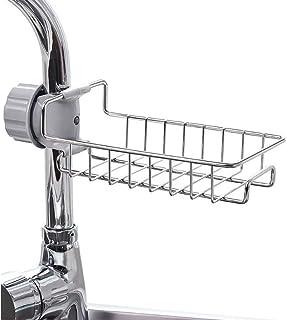 Kitchen Faucet Sponge Holder VECU Stainless Steel Sink Caddy Organizer Drain Rack for Kitchen Accessories Dishwashing Liqu...