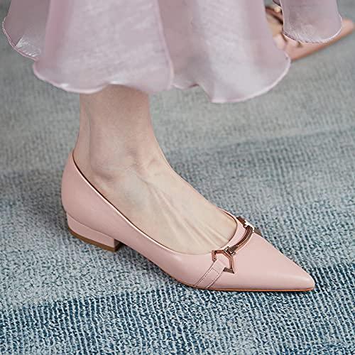 Einfarbig Täglich Niedrige Absätze Flache Spitze Zehen Flache Schuhe Frauen Rosa Einzelschuhe 36 Nackte Nudeln-Schaffell-Nudeln