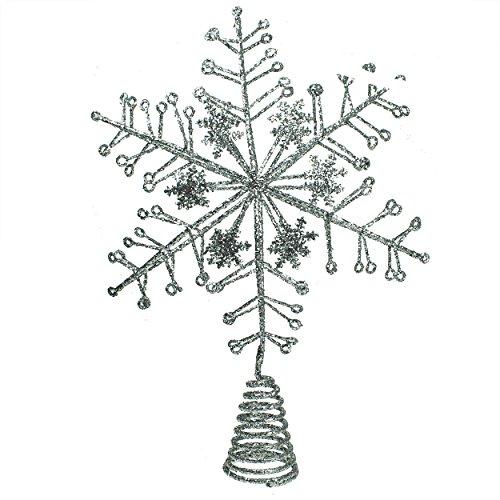 Purpurina Plateada Copo De Nieve Árbol de Navidad Estrella Decoración (32cm)