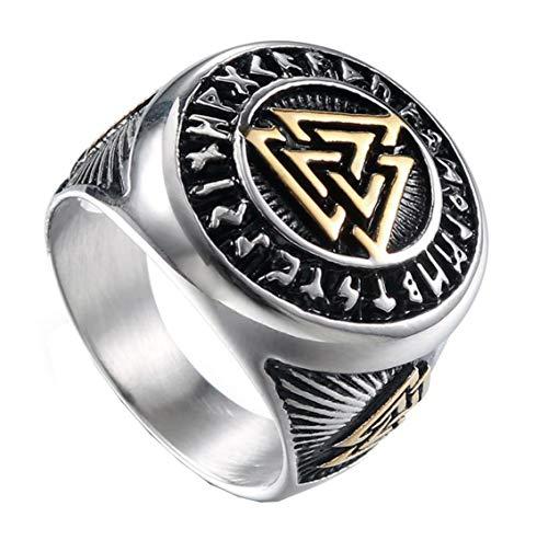 HIJONES Herren Valknut Nordischer Wikinger Odin Symbol Ring aus Edelstahl Krieger Motorradfahrer Signierter Ringe Silber Größe 65