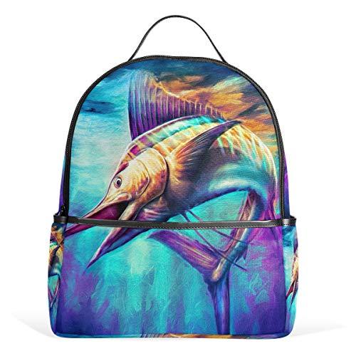 Eslifey Sailfish Jumping Painting Bookbag Schultaschen Täglicher Rucksäcke Tagesrucksack für Studenten