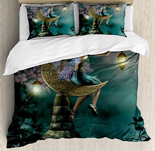 Fantasy funda nórdica por Ambesonne, Little Pixie con farol sentado en piedra luna Mito de cuento de hadas Kitsch ilustraciones, decorativa juego de cama con fundas de almohada, oro azul lila