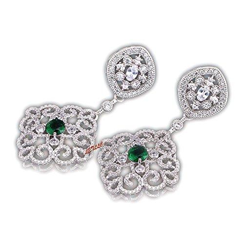 Lily Treacy Cz Dangle Drop Oorbellen Diamant Wit Ruby Rood Saffier Blauw Emerald Groen in Led Light Box