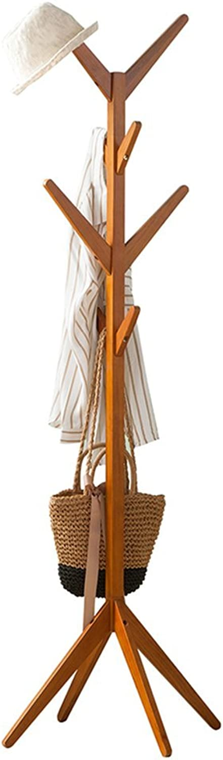 Solid Wood Coat Rack Free Standing, Coat Hook Wooden Coat Rack and Hook Rack with 4 Tiers 8 Hooks, Entryway Standing Hat Coat Hanger Rack, Hall Tree for Clothes Scarves and Hats