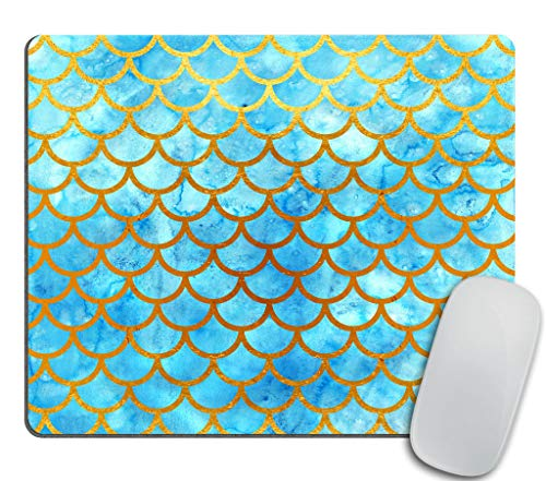Mermaid Scales Mouse pad,Blue Watercolor Fish Scales Rectangle Non-Slip Rubber Mousepad 9.5 X 7.9 Inch (240mmX200mmX3mm)