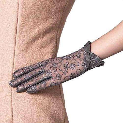 N / A Winter warme Handschuhe Sommer Touch-Screen Frauen Leder Handschuhe Damen Elegant Spitze Sonnenhandschuhe Weiblich Schwarz Fahrerhandschuhe Anti-UV