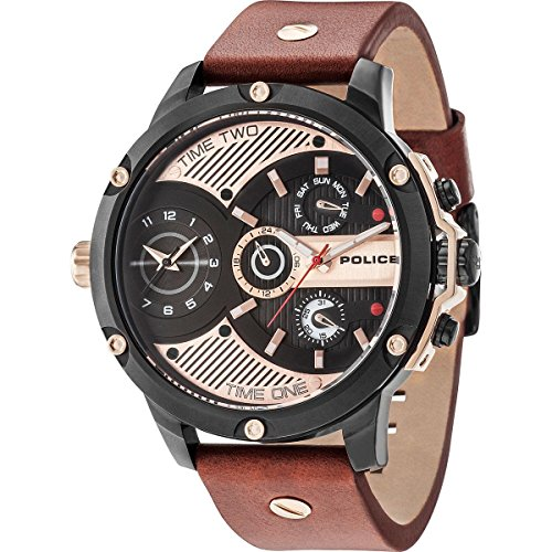 Police Herren Multi Zifferblatt Quarz Uhr mit Leder Armband 15049JSB/02
