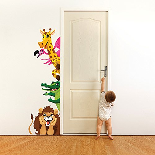wall art R00192 Wall Sticker per Bambini Animali Giocare Nascondo 3, Wallpaper, Multicolore, 30 X 100 X CM