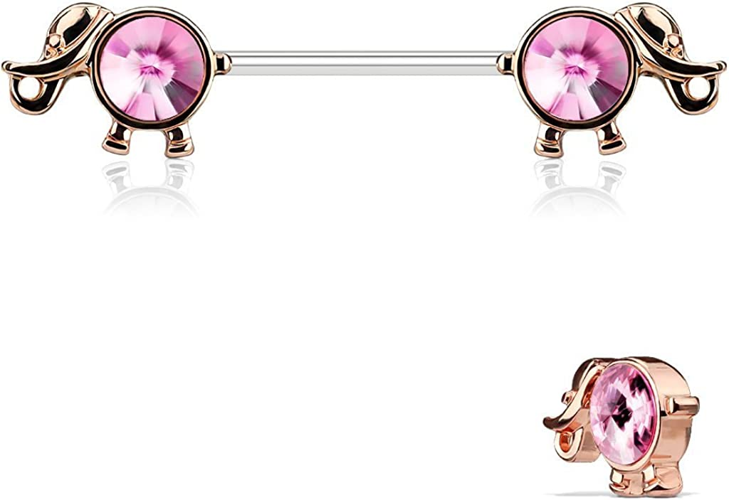 Covet Jewelry Round Gemmed Elephant 316L Surgical Steel Nipple Barbells