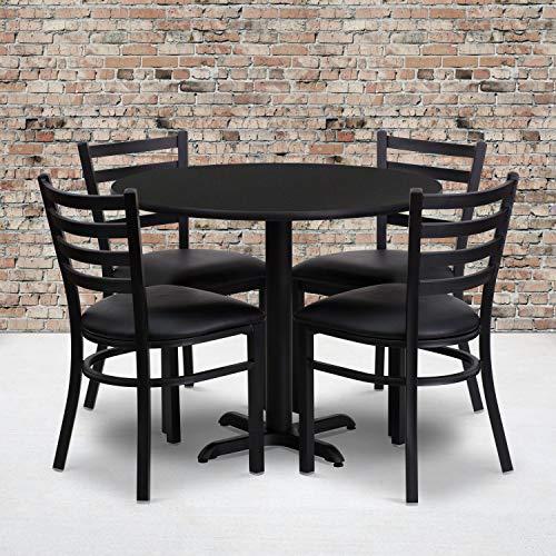 Flash Furniture 36'' Round Black Laminate Table Set with X-Base and 4 Ladder Back Metal Chairs - Black Vinyl Seat