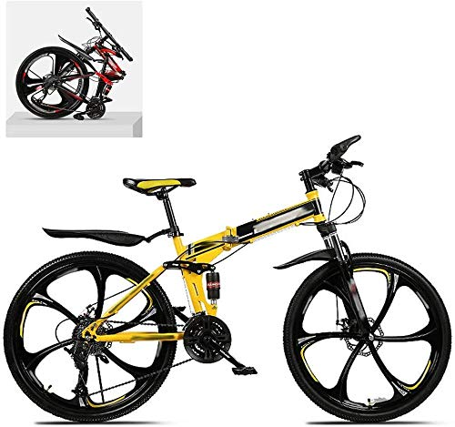 Bicicleta de montaña plegable de 24 pulgadas con marco de acero de alto carbono doble absorción de choque 21/24/27/30 velocidad variable todo terreno rápido plegable adulto