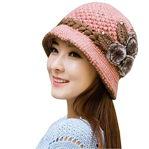 Zottom Mode Frauen Dame Winter warme häkelarbeit gestrickte Blumen verziert Ohren Hut PK
